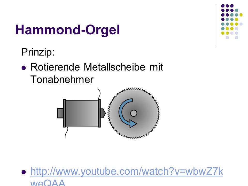Hammond-Orgel Prinzip: Rotierende Metallscheibe mit Tonabnehmer http://www.youtube.com/watch?v=wbwZ7k weQAA http://www.youtube.com/watch?v=wbwZ7k weQA