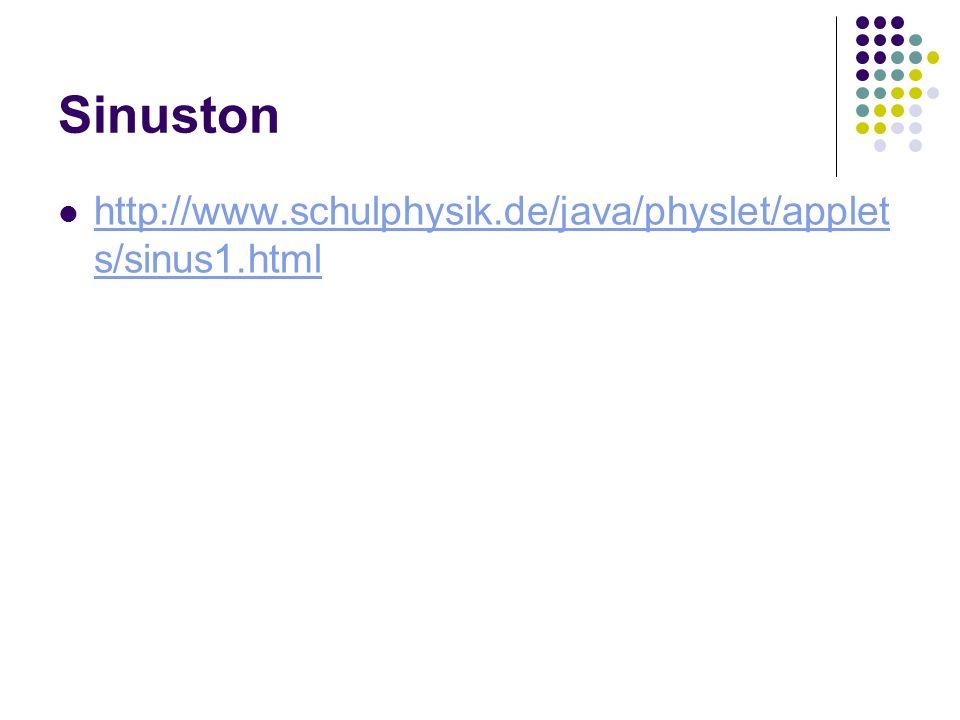 Sinuston http://www.schulphysik.de/java/physlet/applet s/sinus1.html http://www.schulphysik.de/java/physlet/applet s/sinus1.html