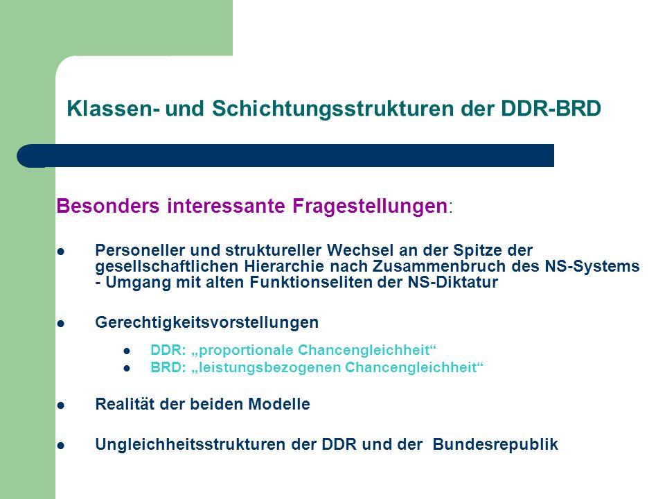 Klassen- und Schichtungsstrukturen der DDR-BRD Besonders interessante Fragestellungen : Personeller und struktureller Wechsel an der Spitze der gesell
