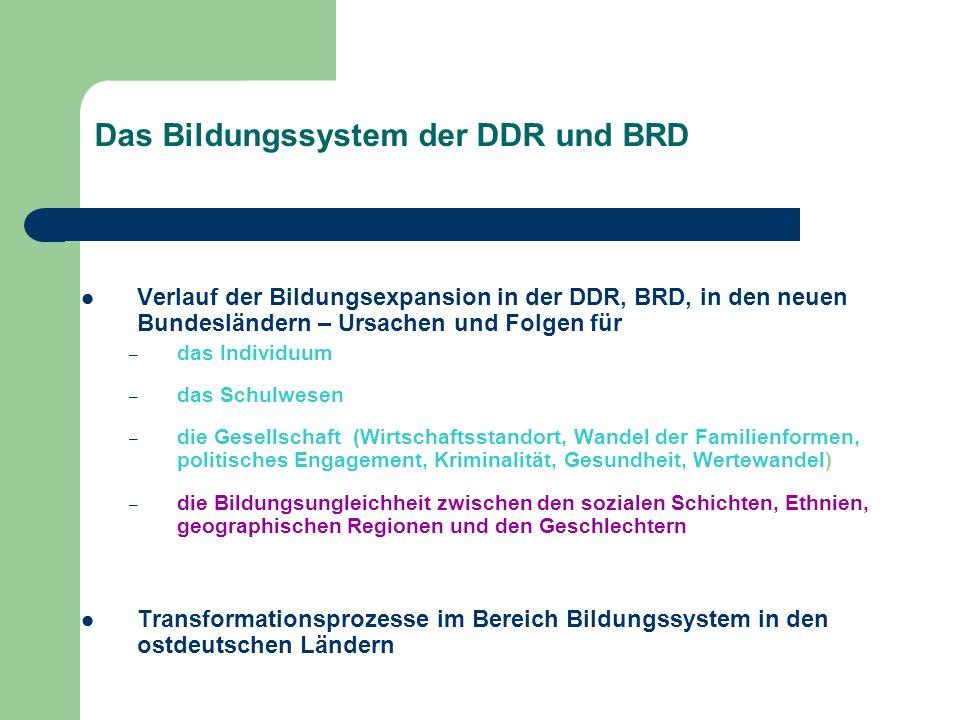 Das Bildungssystem der DDR und BRD Verlauf der Bildungsexpansion in der DDR, BRD, in den neuen Bundesländern – Ursachen und Folgen für – das Individuu