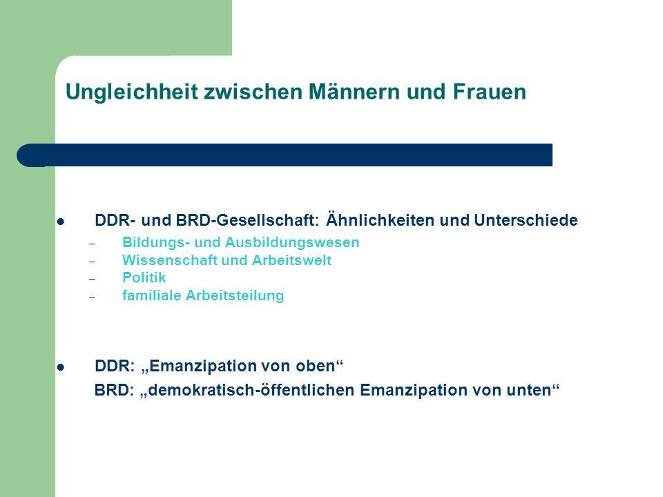 Ungleichheit zwischen Männern und Frauen DDR- und BRD-Gesellschaft: Ähnlichkeiten und Unterschiede – Bildungs- und Ausbildungswesen – Wissenschaft und