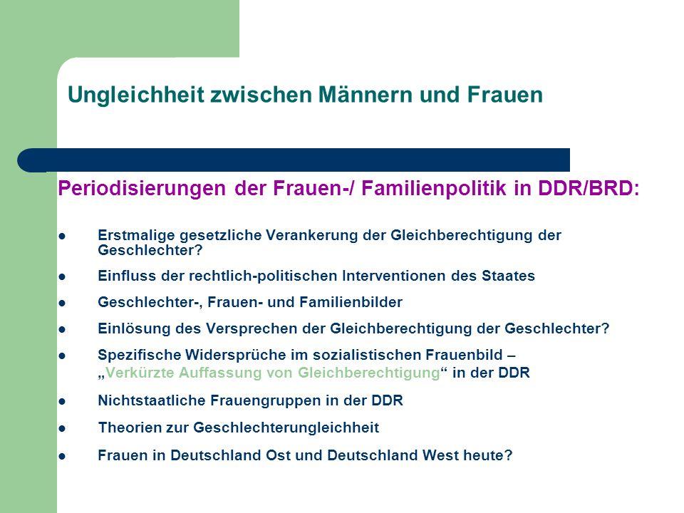 Ungleichheit zwischen Männern und Frauen Periodisierungen der Frauen-/ Familienpolitik in DDR/BRD: Erstmalige gesetzliche Verankerung der Gleichberech