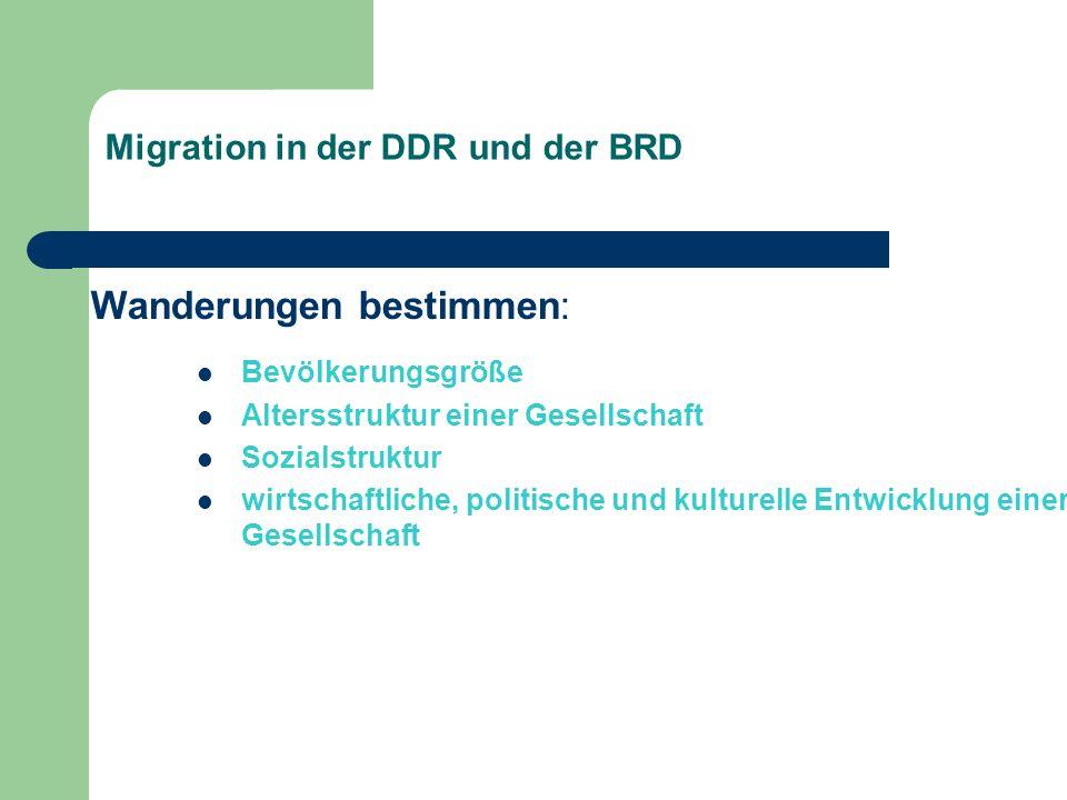 Migration in der DDR und der BRD Wanderungen bestimmen: Bevölkerungsgröße Altersstruktur einer Gesellschaft Sozialstruktur wirtschaftliche, politische