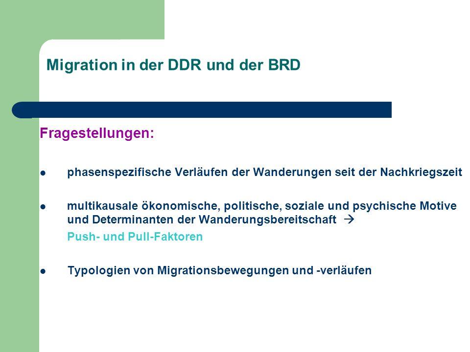 Migration in der DDR und der BRD Fragestellungen: phasenspezifische Verläufen der Wanderungen seit der Nachkriegszeit multikausale ökonomische, politi