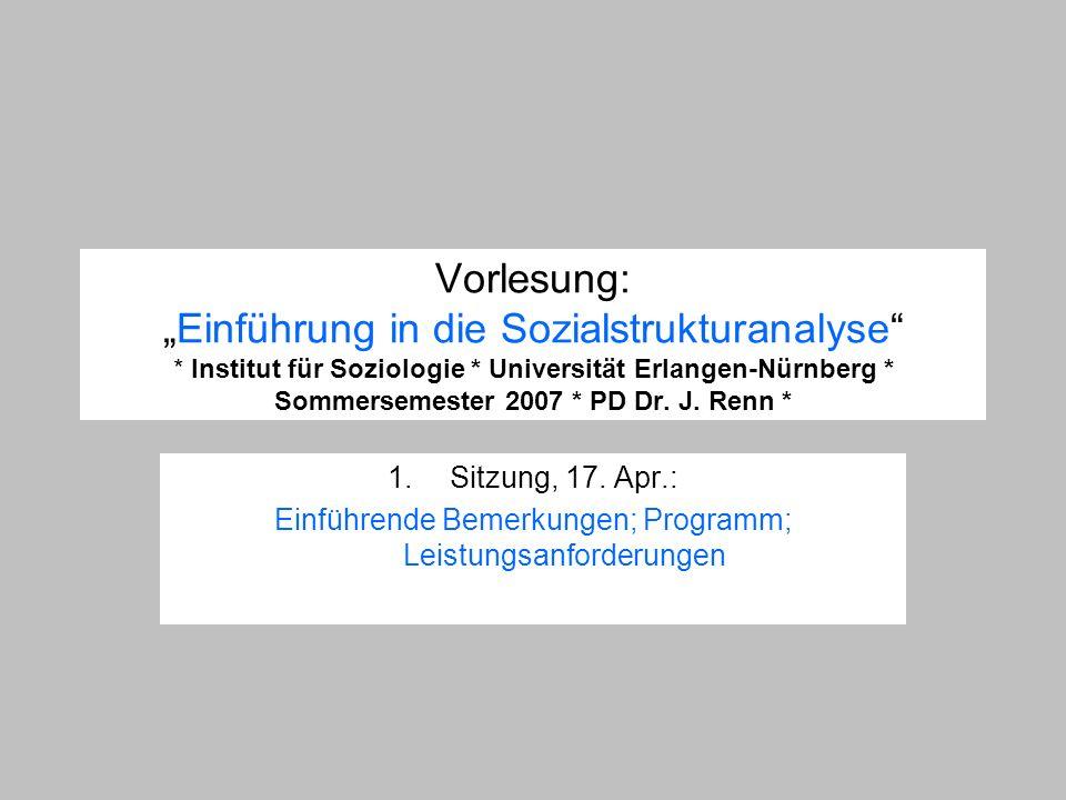 Vorlesung:Einführung in die Sozialstrukturanalyse * Institut für Soziologie * Universität Erlangen-Nürnberg * Sommersemester 2007 * PD Dr. J. Renn * 1
