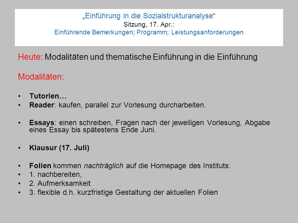 Einführung in die Sozialstrukturanalyse Sitzung, 17.