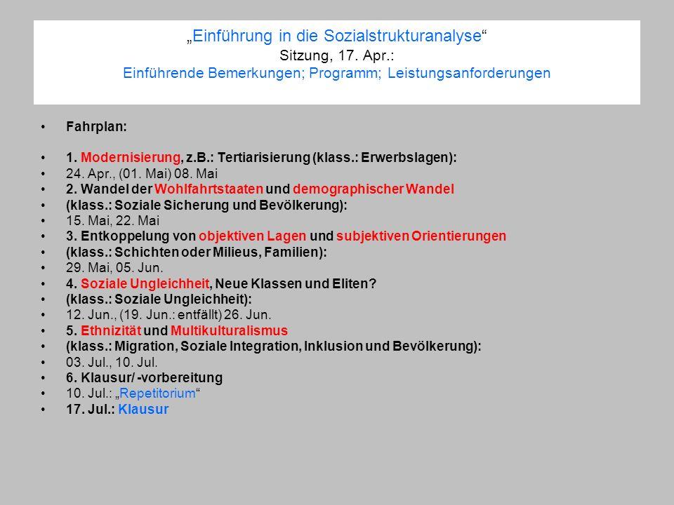 Einführung in die Sozialstrukturanalyse Sitzung, 17. Apr.: Einführende Bemerkungen; Programm; Leistungsanforderungen Fahrplan: 1. Modernisierung, z.B.