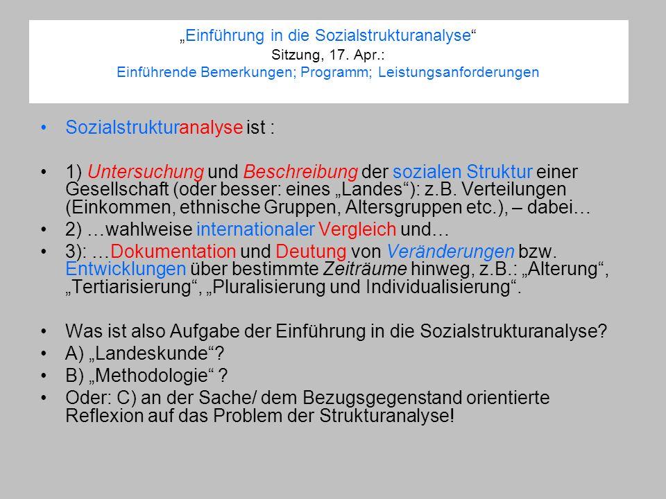 Einführung in die Sozialstrukturanalyse Sitzung, 17. Apr.: Einführende Bemerkungen; Programm; Leistungsanforderungen Sozialstrukturanalyse ist : 1) Un