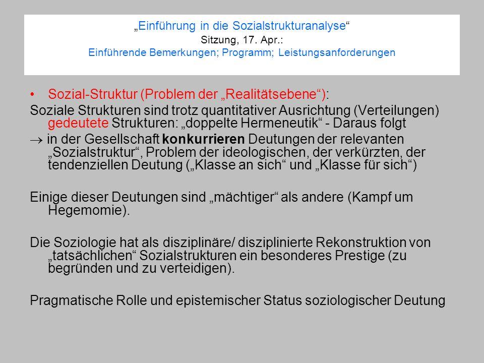 Einführung in die Sozialstrukturanalyse Sitzung, 17. Apr.: Einführende Bemerkungen; Programm; Leistungsanforderungen Sozial-Struktur (Problem der Real