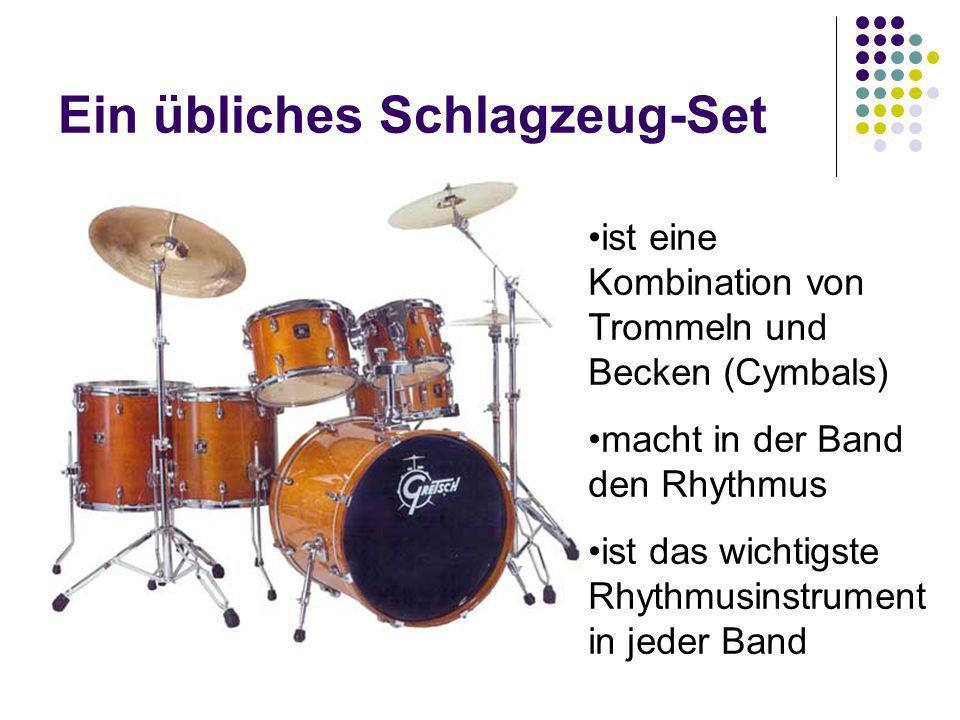 Ein übliches Schlagzeug-Set ist eine Kombination von Trommeln und Becken (Cymbals) macht in der Band den Rhythmus ist das wichtigste Rhythmusinstrumen