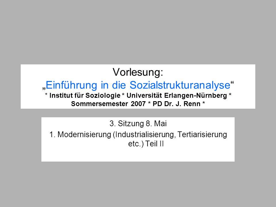 Vorlesung:Einführung in die Sozialstrukturanalyse * Institut für Soziologie * Universität Erlangen-Nürnberg * Sommersemester 2007 * PD Dr. J. Renn * 3