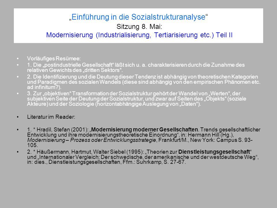 Einführung in die Sozialstrukturanalyse Sitzung 8. Mai: Modernisierung (Industrialisierung, Tertiarisierung etc.) Teil II Vorläufiges Resümee: 1. Die