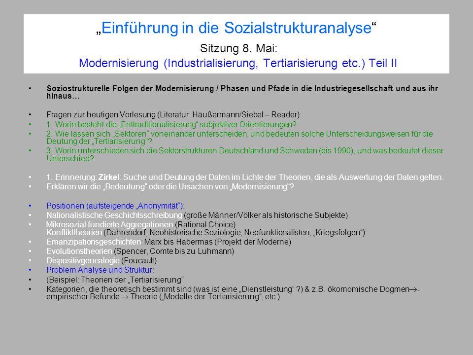 Einführung in die Sozialstrukturanalyse Sitzung 8. Mai: Modernisierung (Industrialisierung, Tertiarisierung etc.) Teil II Soziostrukturelle Folgen der
