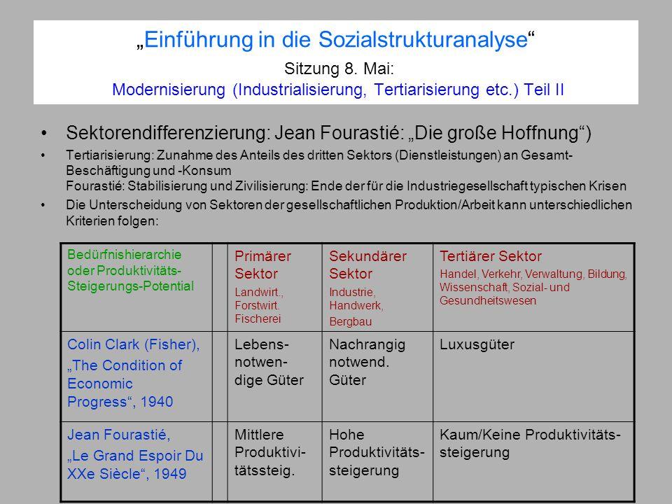 Einführung in die Sozialstrukturanalyse Sitzung 8. Mai: Modernisierung (Industrialisierung, Tertiarisierung etc.) Teil II Sektorendifferenzierung: Jea