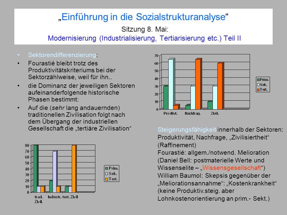 Einführung in die Sozialstrukturanalyse Sitzung 8. Mai: Modernisierung (Industrialisierung, Tertiarisierung etc.) Teil II Sektorendifferenzierung: Fou