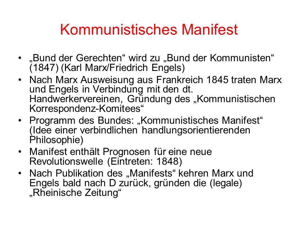Kontextbedingungen für das Kommunistische Manifest Begegnung von neuer franz. Arbeiterbewegung (u.a. Kadergruppen und Konspirationen) und dt. Handwerk