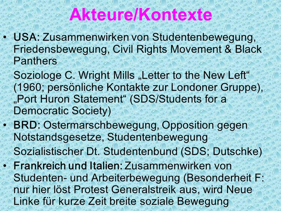 Ereignisse/Kontexte 1) Vietnamkrieg als Katalysator der Proteste 1967/68 Studentenproteste in USA, F, D, I, CZ, PL, Japan, MEX... Vietnamkongress 1968