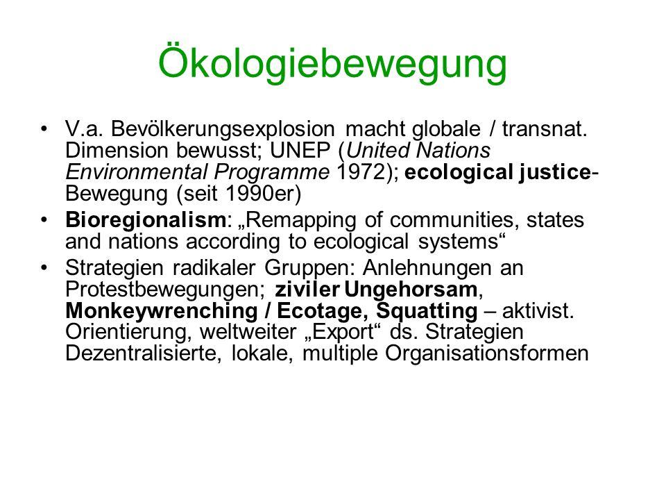 Ökologiebewegung: ideologische Kernpunkte Kritik des Konsumismus, des uneingeschränkten Glaubens an technolog. Fortschritt, Wirtschaftswachstum & dere