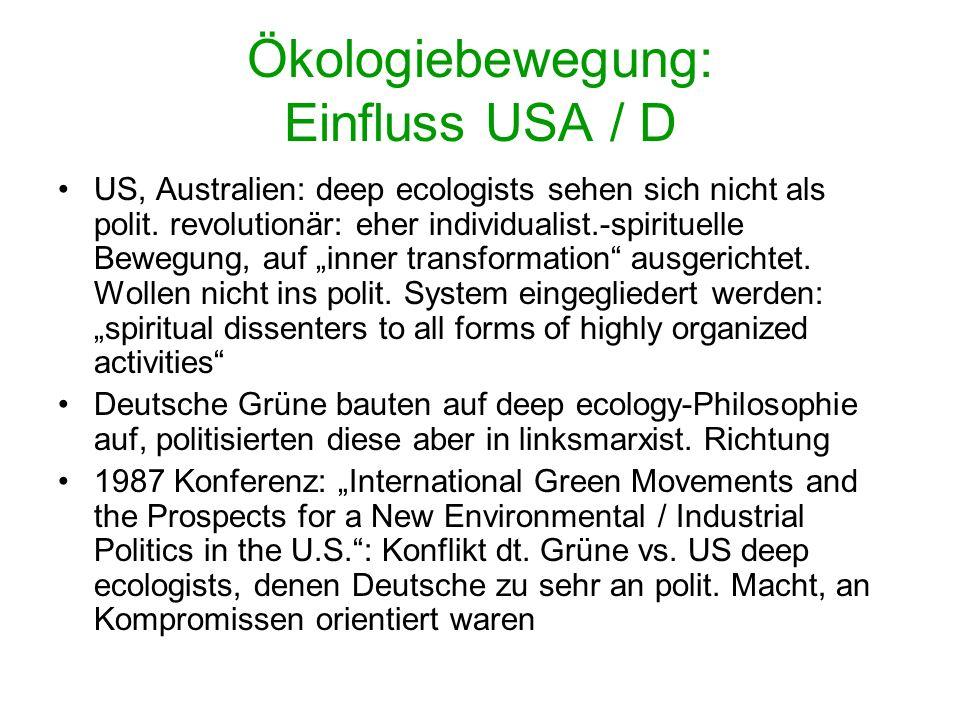 Ökologiebewegung V.a. Bevölkerungsexplosion macht globale / transnat. Dimension bewusst; UNEP (United Nations Environmental Programme 1972); ecologica