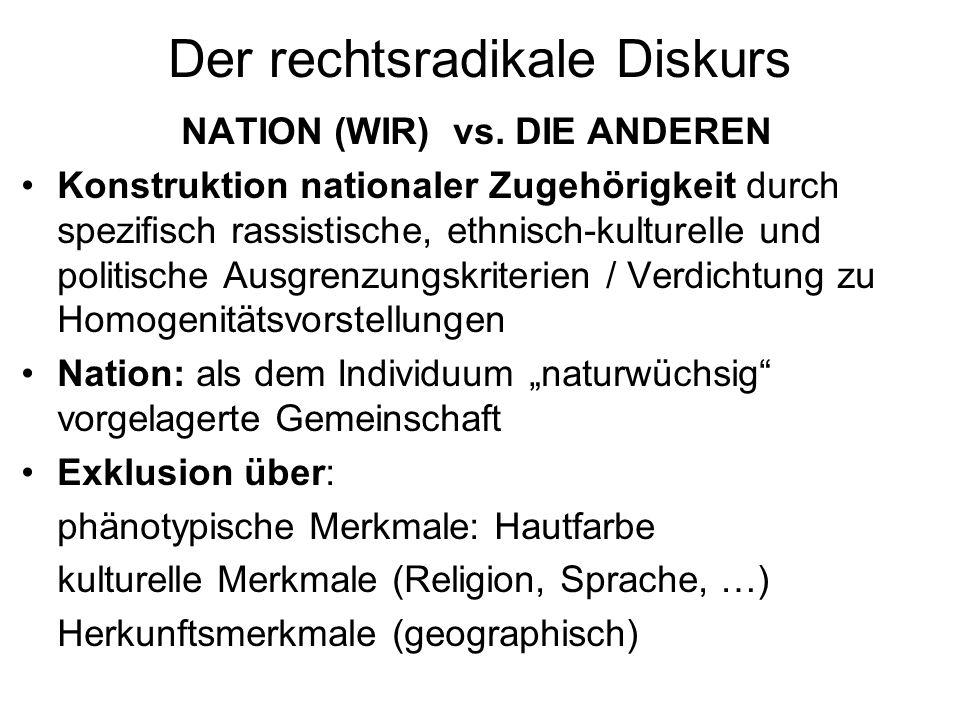 Phänomen Rechtsradikalismus Definition a) Rechtsradikalismus ist eine politische Ideologie, die im Kern aus einem Mythos in Form eines populistischen