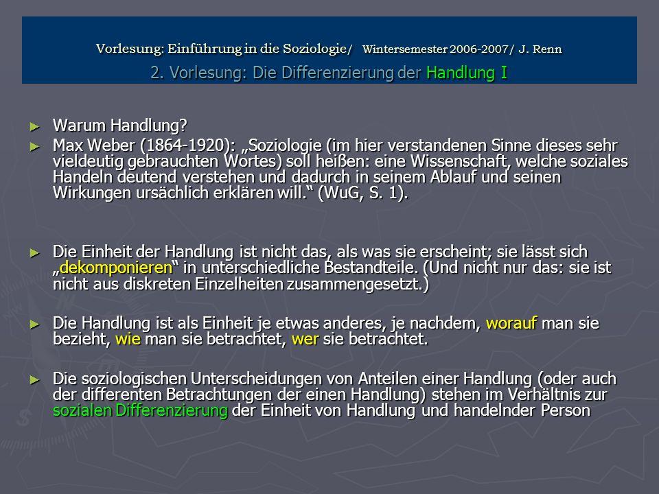 Vorlesung: Einführung in die Soziologie / Wintersemester 2006-2007/ J. Renn 2. Vorlesung: Die Differenzierung der Handlung I Warum Handlung? Warum Han