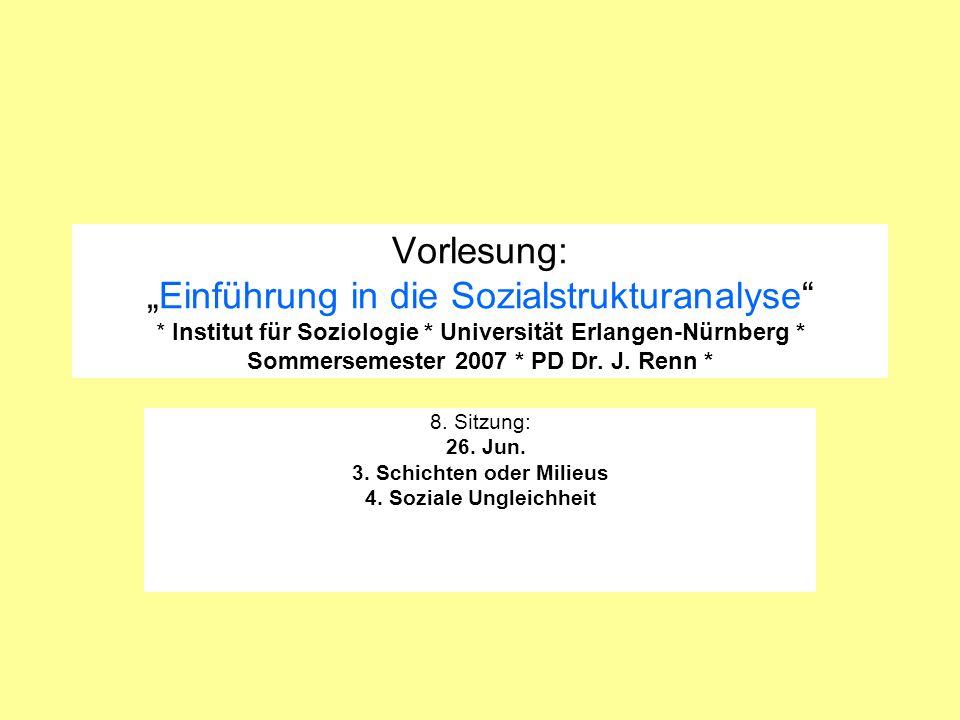 Vorlesung:Einführung in die Sozialstrukturanalyse * Institut für Soziologie * Universität Erlangen-Nürnberg * Sommersemester 2007 * PD Dr. J. Renn * 8