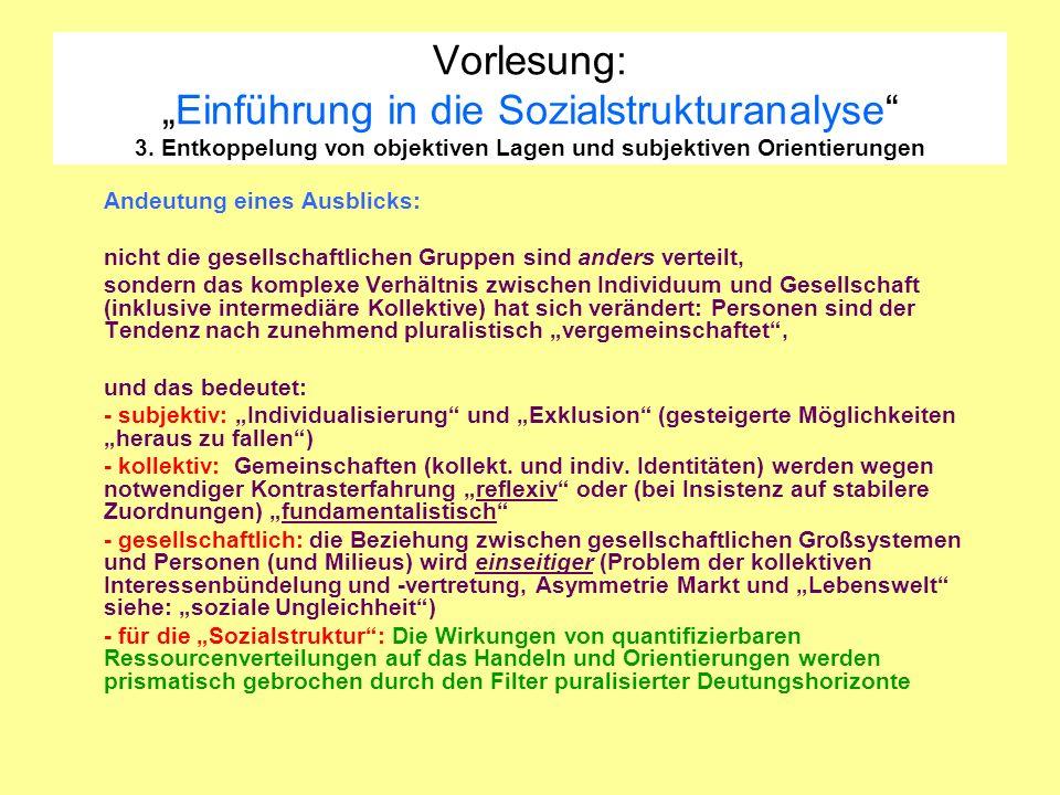Vorlesung:Einführung in die Sozialstrukturanalyse 3. Entkoppelung von objektiven Lagen und subjektiven Orientierungen Andeutung eines Ausblicks: nicht