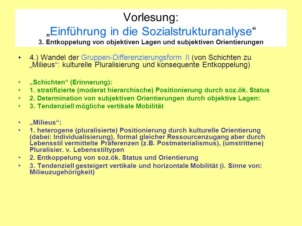 Vorlesung:Einführung in die Sozialstrukturanalyse 3. Entkoppelung von objektiven Lagen und subjektiven Orientierungen 4.) Wandel der Gruppen-Differenz