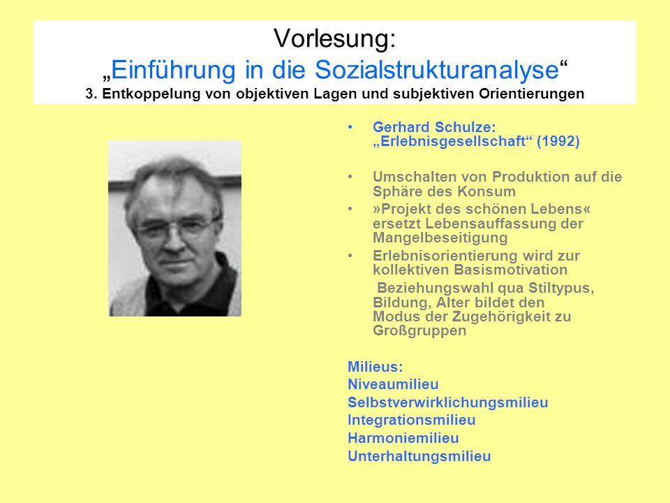 Vorlesung:Einführung in die Sozialstrukturanalyse 3. Entkoppelung von objektiven Lagen und subjektiven Orientierungen Gerhard Schulze: Erlebnisgesells
