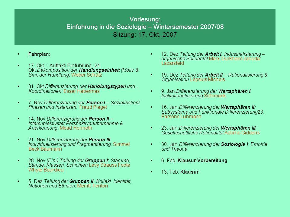 Vorlesung: Einführung in die Soziologie – Wintersemester 2007/08 Sitzung: 17. Okt. 2007 Fahrplan: 17. Okt..: Auftakt/ Einführung:: 24. Okt.Dekompositi