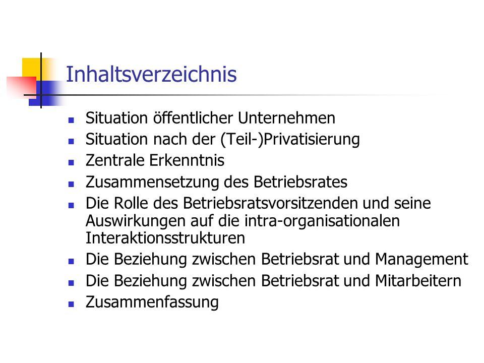 Inhaltsverzeichnis Situation öffentlicher Unternehmen Situation nach der (Teil-)Privatisierung Zentrale Erkenntnis Zusammensetzung des Betriebsrates D
