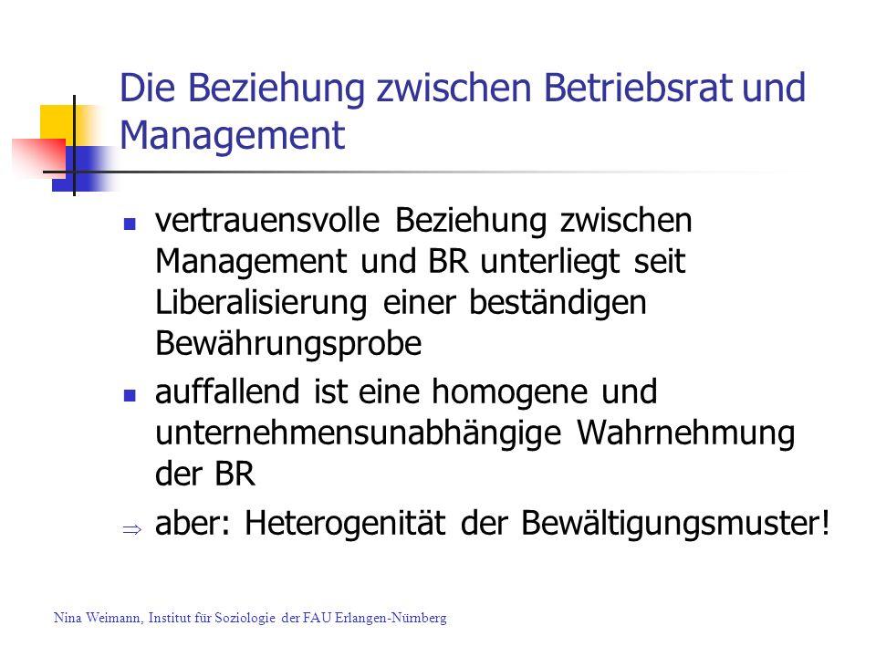 Die Beziehung zwischen Betriebsrat und Management vertrauensvolle Beziehung zwischen Management und BR unterliegt seit Liberalisierung einer beständig