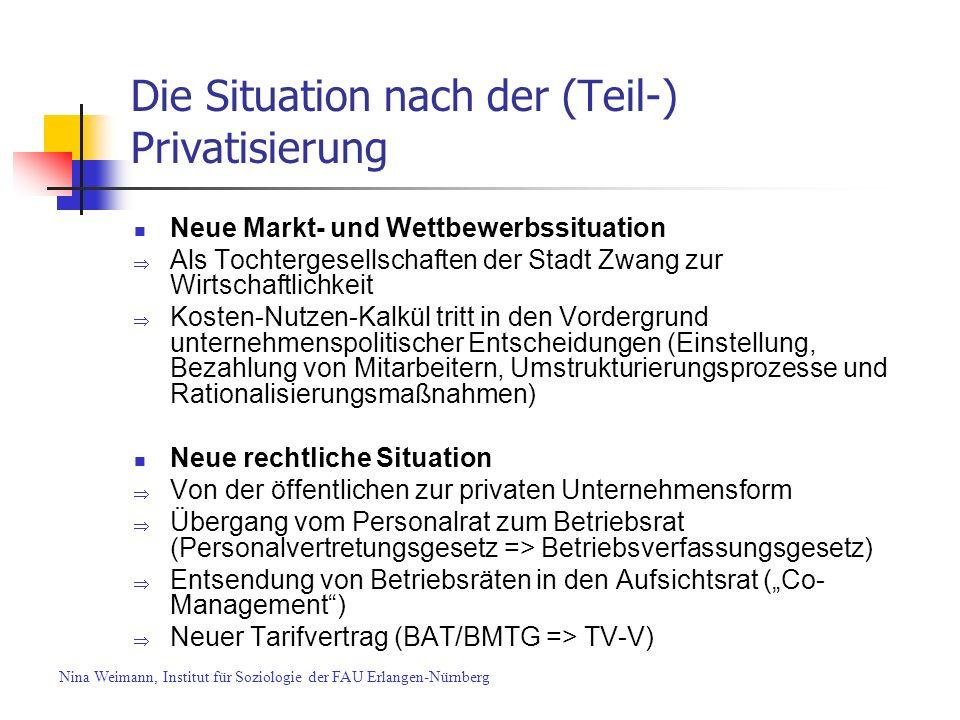 Die Situation nach der (Teil-) Privatisierung Neue Markt- und Wettbewerbssituation Als Tochtergesellschaften der Stadt Zwang zur Wirtschaftlichkeit Ko
