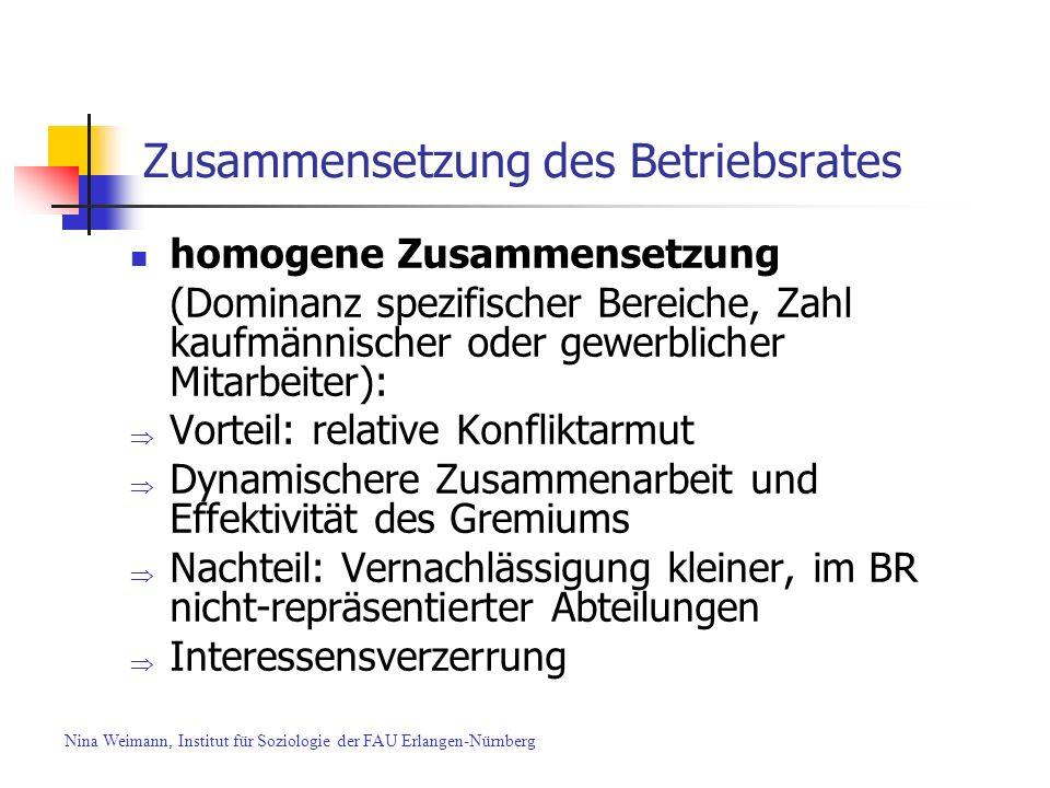 Zusammensetzung des Betriebsrates homogene Zusammensetzung (Dominanz spezifischer Bereiche, Zahl kaufmännischer oder gewerblicher Mitarbeiter): Vortei