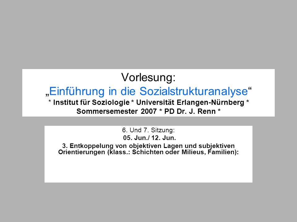 Vorlesung:Einführung in die Sozialstrukturanalyse * Institut für Soziologie * Universität Erlangen-Nürnberg * Sommersemester 2007 * PD Dr. J. Renn * 6