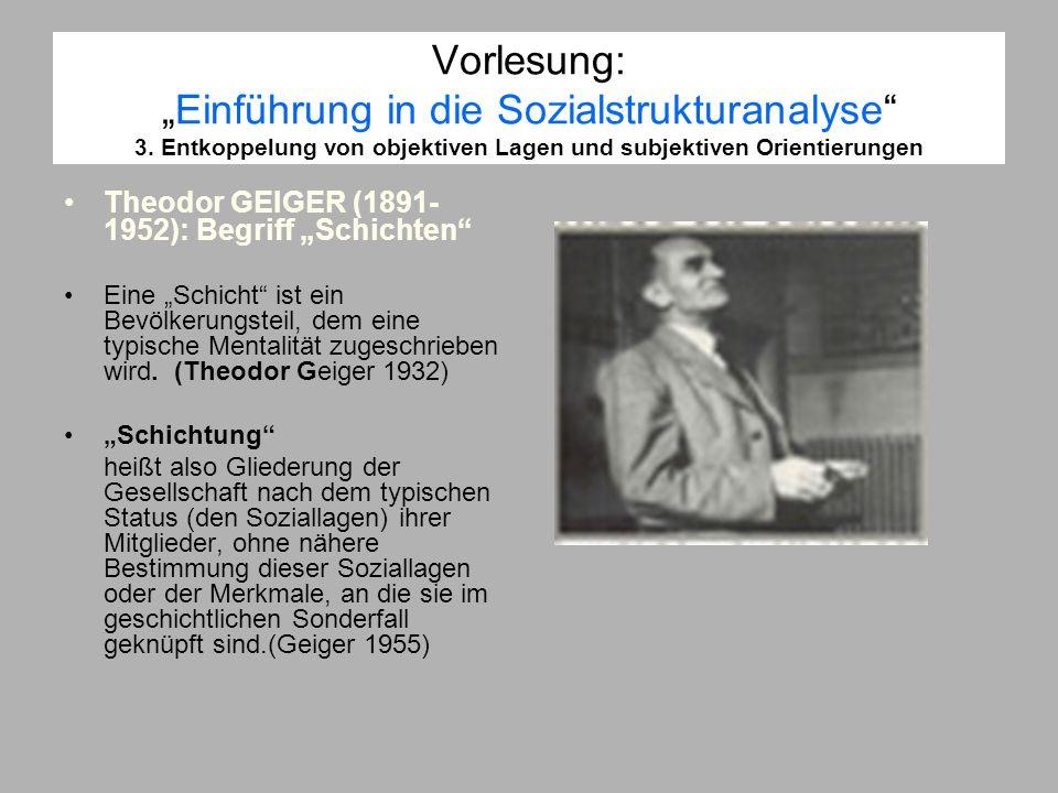 Vorlesung:Einführung in die Sozialstrukturanalyse 3. Entkoppelung von objektiven Lagen und subjektiven Orientierungen Theodor GEIGER (1891- 1952): Beg