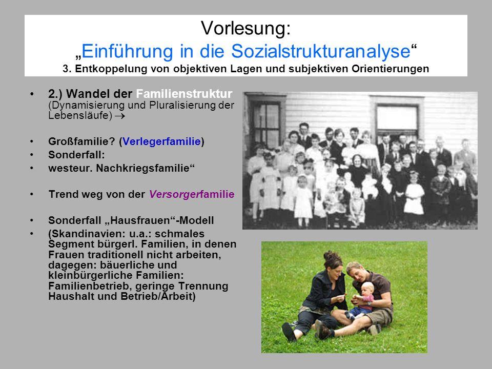 Vorlesung:Einführung in die Sozialstrukturanalyse 3. Entkoppelung von objektiven Lagen und subjektiven Orientierungen 2.) Wandel der Familienstruktur