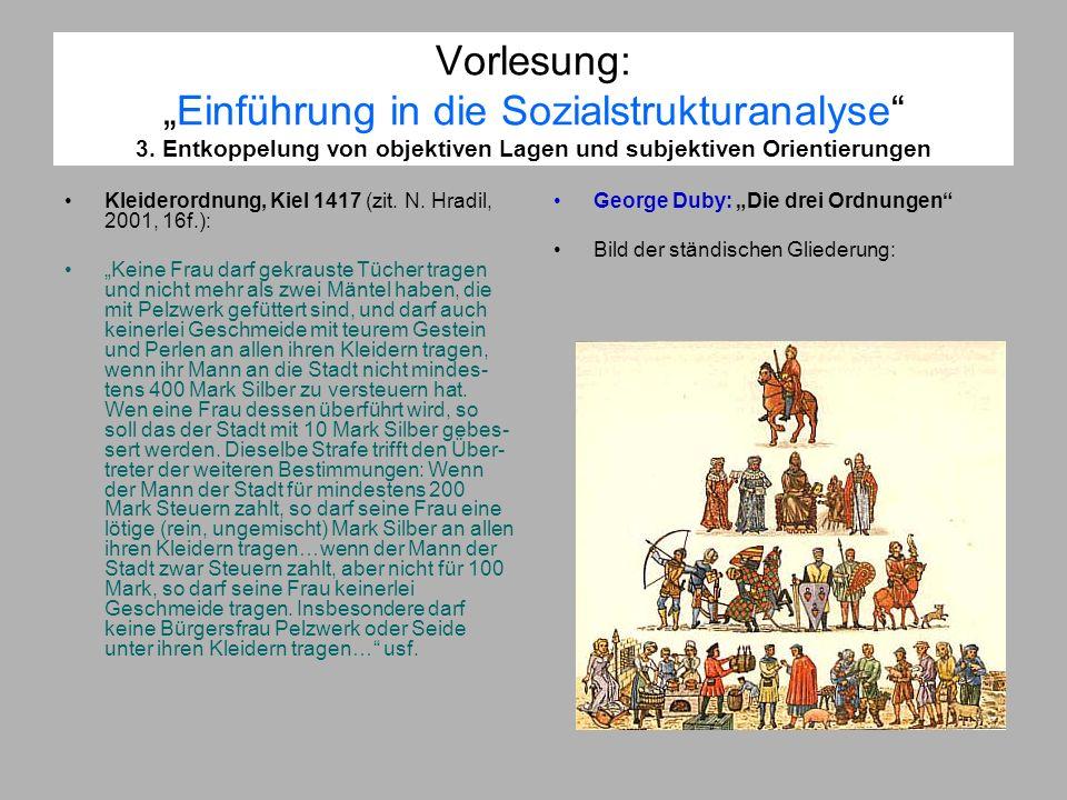 Vorlesung:Einführung in die Sozialstrukturanalyse 3. Entkoppelung von objektiven Lagen und subjektiven Orientierungen Kleiderordnung, Kiel 1417 (zit.