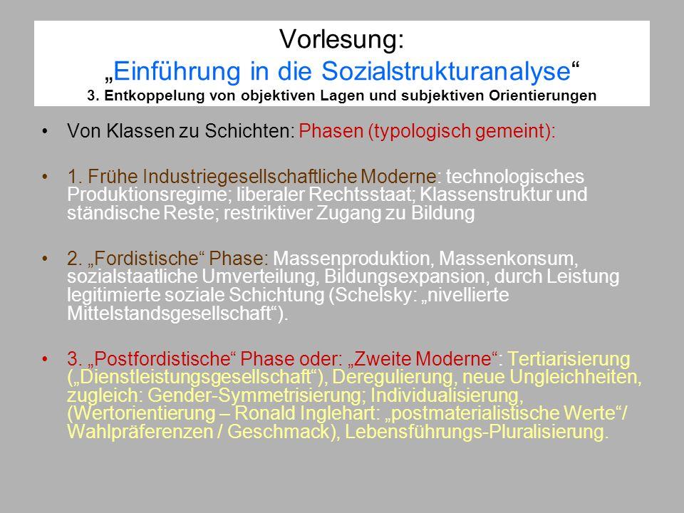 Vorlesung:Einführung in die Sozialstrukturanalyse 3. Entkoppelung von objektiven Lagen und subjektiven Orientierungen Von Klassen zu Schichten: Phasen