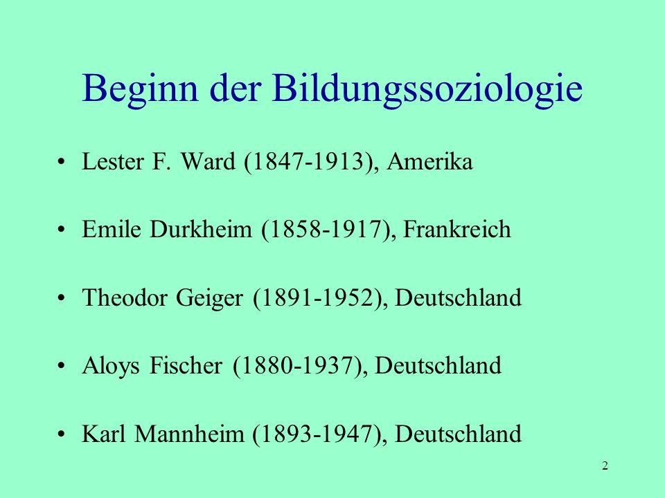 Bildungssoziologie Begründer Begriffsklärung Zentrale Untersuchungsgegenstände