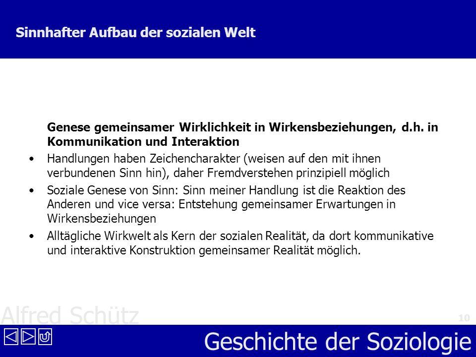 Alfred Schütz Geschichte der Soziologie 10 Sinnhafter Aufbau der sozialen Welt Genese gemeinsamer Wirklichkeit in Wirkensbeziehungen, d.h. in Kommunik