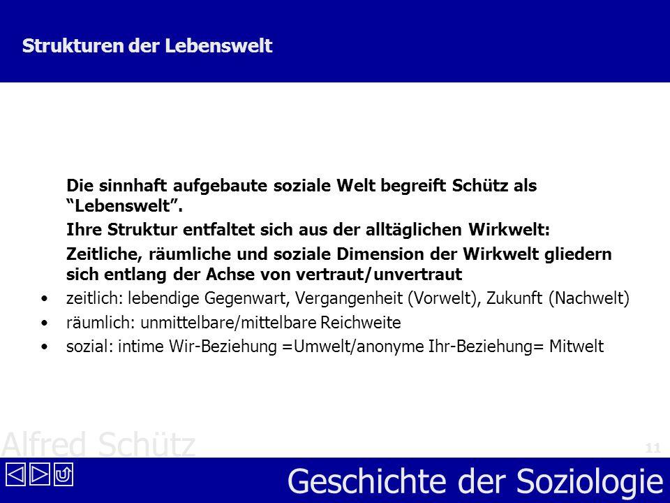 Alfred Schütz Geschichte der Soziologie 11 Strukturen der Lebenswelt Die sinnhaft aufgebaute soziale Welt begreift Schütz als Lebenswelt. Ihre Struktu