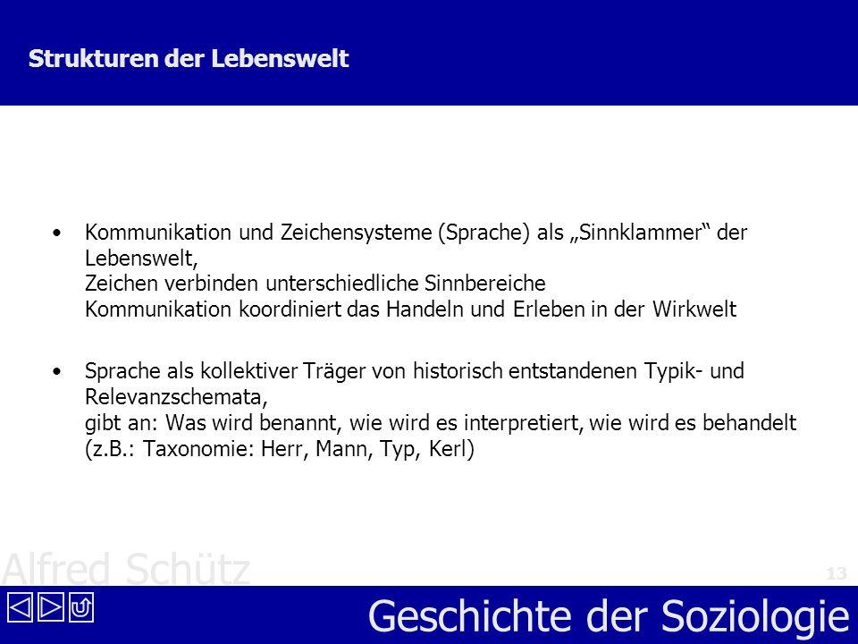 Alfred Schütz Geschichte der Soziologie 13 Strukturen der Lebenswelt Kommunikation und Zeichensysteme (Sprache) als Sinnklammer der Lebenswelt, Zeiche