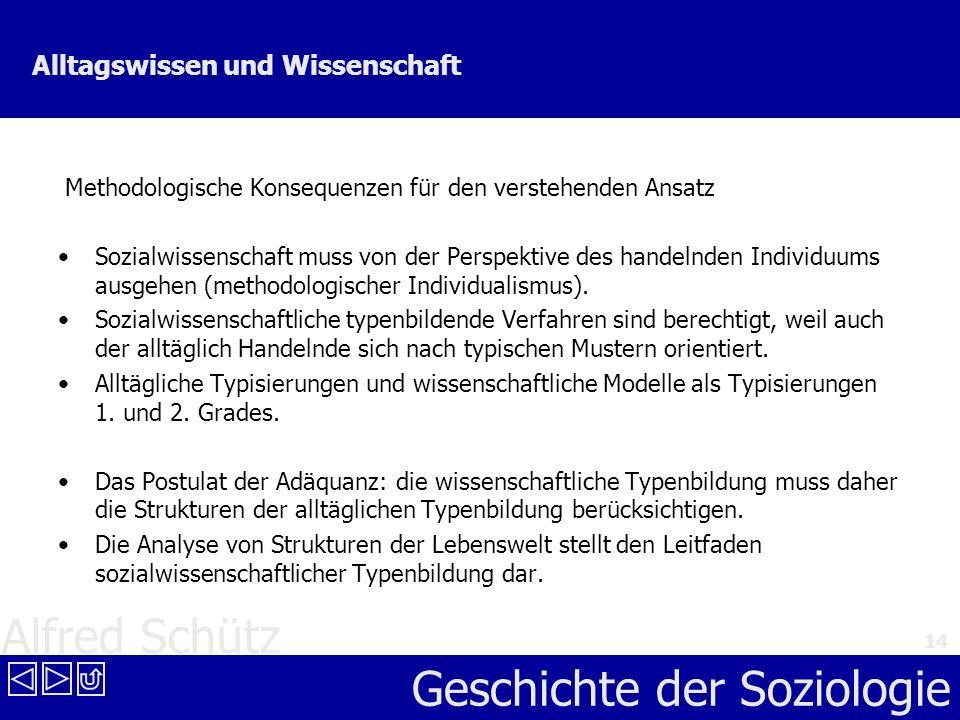Alfred Schütz Geschichte der Soziologie 14 Alltagswissen und Wissenschaft Methodologische Konsequenzen für den verstehenden Ansatz Sozialwissenschaft