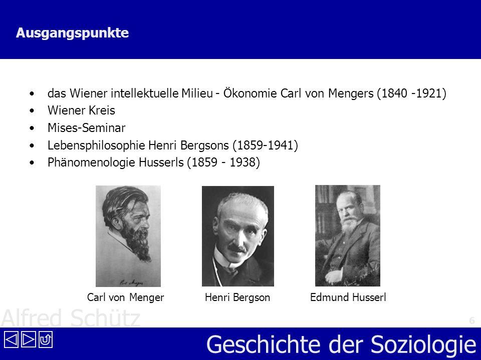 Alfred Schütz Geschichte der Soziologie 6 Ausgangspunkte das Wiener intellektuelle Milieu - Ökonomie Carl von Mengers (1840 -1921) Wiener Kreis Mises-
