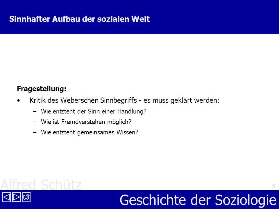 Alfred Schütz Geschichte der Soziologie 8 Sinnhafter Aufbau der sozialen Welt Fragestellung: Kritik des Weberschen Sinnbegriffs - es muss geklärt werd