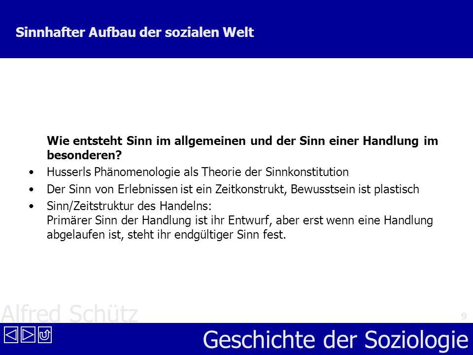 Alfred Schütz Geschichte der Soziologie 9 Sinnhafter Aufbau der sozialen Welt Wie entsteht Sinn im allgemeinen und der Sinn einer Handlung im besonder