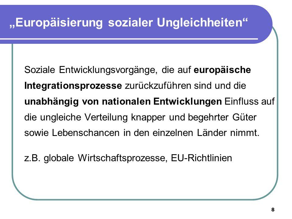 8 Europäisierung sozialer Ungleichheiten Soziale Entwicklungsvorgänge, die auf europäische Integrationsprozesse zurückzuführen sind und die unabhängig