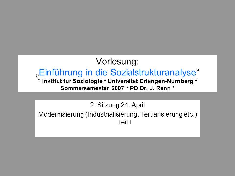 Vorlesung:Einführung in die Sozialstrukturanalyse * Institut für Soziologie * Universität Erlangen-Nürnberg * Sommersemester 2007 * PD Dr. J. Renn * 2