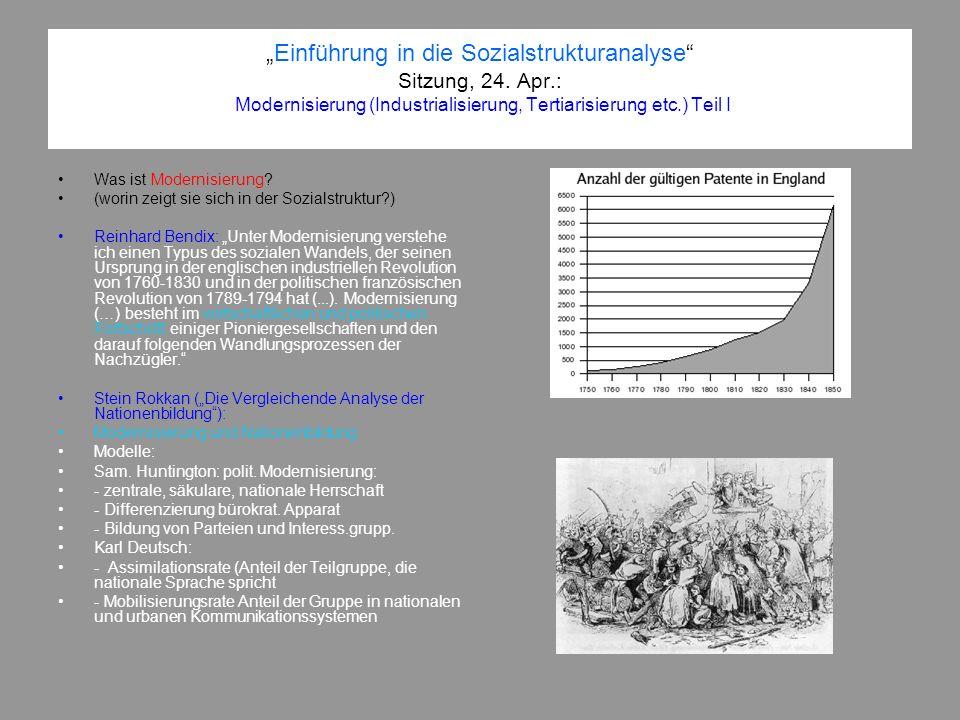 Einführung in die Sozialstrukturanalyse Sitzung, 24. Apr.: Modernisierung (Industrialisierung, Tertiarisierung etc.) Teil I Was ist Modernisierung? (w